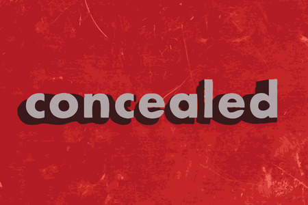 concealed: concealed vector word on red concrete wall