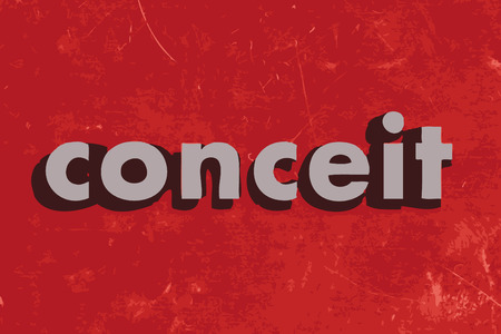 conceit: conceit vector word on red concrete wall