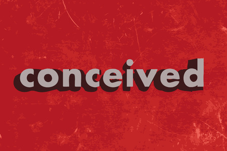 conceived: conceived vector word on red concrete wall Illustration