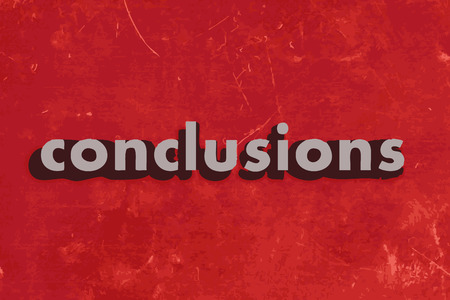 conclusions: conclusions vector word on red concrete wall