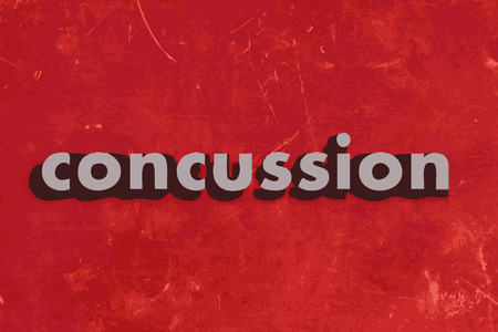 concussion: concussion vector word on red concrete wall
