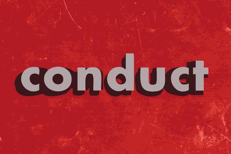 conduct: conduct vector word on red concrete wall