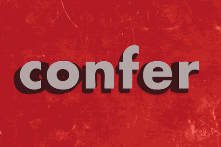 confer: confer vector word on red concrete wall