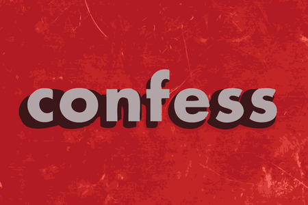confess: confess vector word on red concrete wall