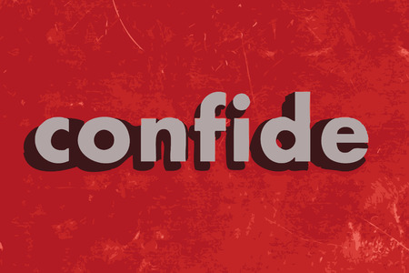 confide: confide vector word on red concrete wall Illustration