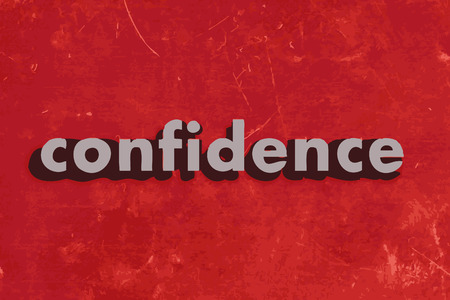 confidence: confidence vector word on red concrete wall Illustration