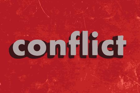 konflikt: Konflikt wektor słowo na czerwonym betonową ścianę