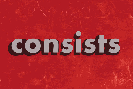 consists: consists vector word on red concrete wall Illustration