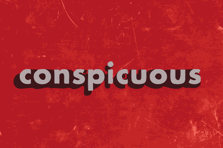 conspicuous: conspicuous vector word on red concrete wall
