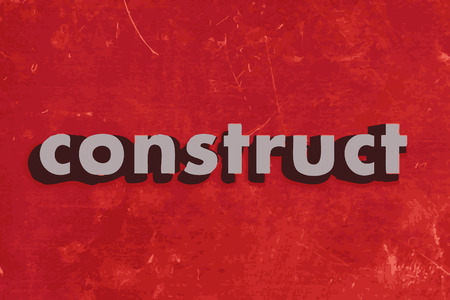 construct: construct vector word on red concrete wall