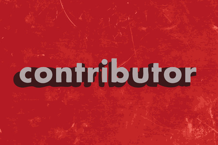 contributor: contributor vector word on red concrete wall Illustration