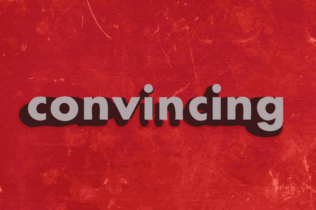 convincing: convincing vector word on red concrete wall