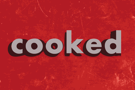 cooked: cooked vector word on red concrete wall Illustration