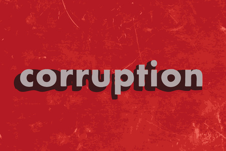 corruption: corruption vector word on red concrete wall Illustration