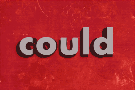 could: could vector word on red concrete wall Illustration