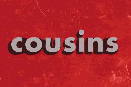 cousins vector word on red concrete wall Illustration