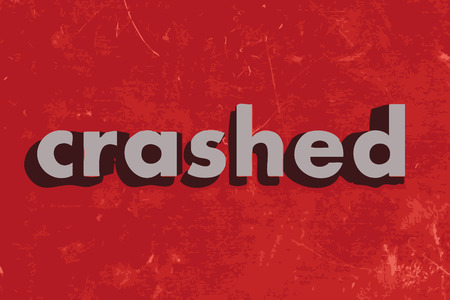 crashed: crashed vector word on red concrete wall