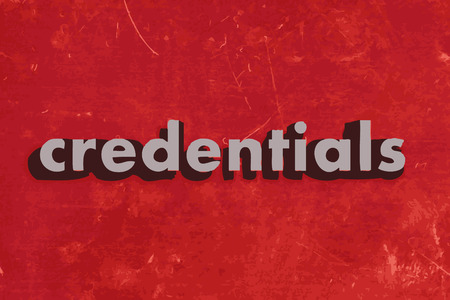 credentials: credentials vector word on red concrete wall