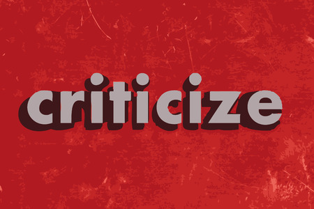 criticize vector word on red concrete wall Illustration