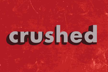 crushed vector word on red concrete wall Ilustração