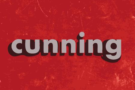 cunning: palabra vector astucia en rojo muro de hormig�n
