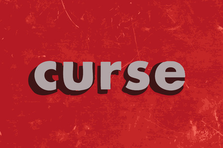 curse: curse vector word on red concrete wall