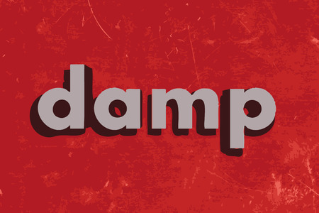 damp: damp vector word on red concrete wall
