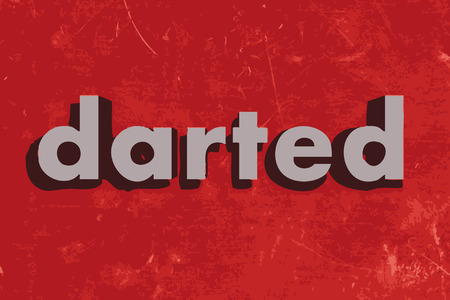 darted: darted vector word on red concrete wall Illustration