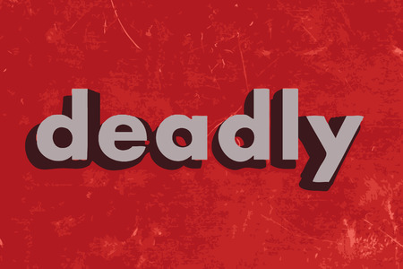 deadly: deadly vector word on red concrete wall