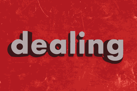 dealing: dealing vector word on red concrete wall Illustration