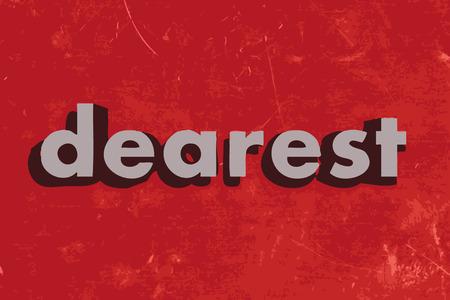 dearest: dearest vector word on red concrete wall Illustration