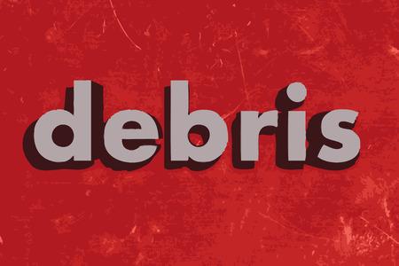 debris: debris vector word on red concrete wall