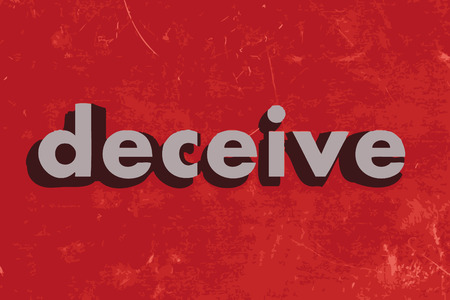 deceive: deceive vector word on red concrete wall