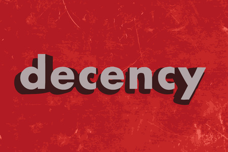 decency: decency vector word on red concrete wall Illustration