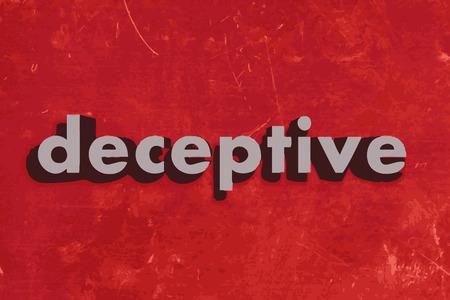 deceptive: misleidende vector woord op de rode betonnen muur