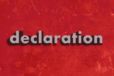 declaration: declaration vector word on red concrete wall