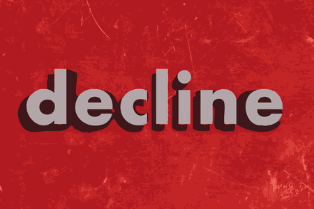 decline: decline vector word on red concrete wall