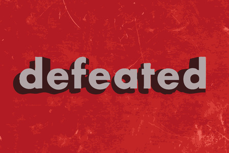 defeated: defeated vector word on red concrete wall