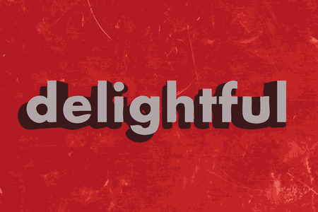 delightful: delightful vector word on red concrete wall Illustration