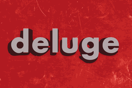 deluge: deluge vector word on red concrete wall Illustration