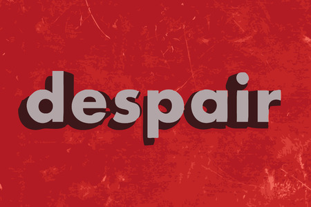 despair: despair vector word on red concrete wall Illustration