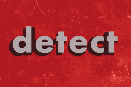 detect: detect vector word on red concrete wall