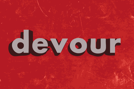devour: devour vector word on red concrete wall