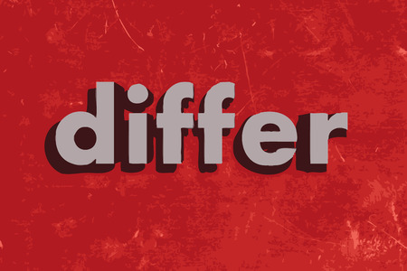 differ: differ vector word on red concrete wall