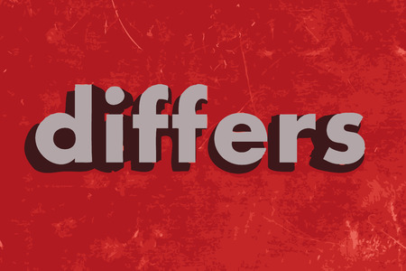 differs: differs vector word on red concrete wall