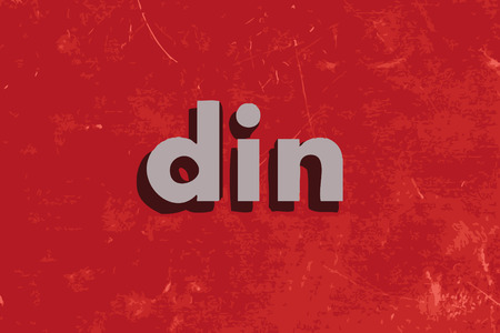 din: din vector word on red concrete wall Illustration