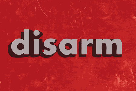 disarm: disarm vector word on red concrete wall