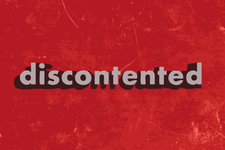 discontented: discontented vector word on red concrete wall