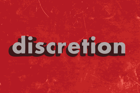 discretion: discretion vector word on red concrete wall