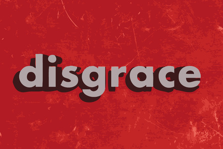 disgrace: disgrace vector word on red concrete wall Illustration